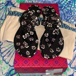 NIB Tory Burch Black Stamped Floral Miller Sandals